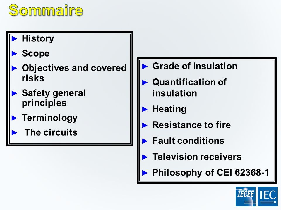 Sommaire History Scope Objectives and covered risks