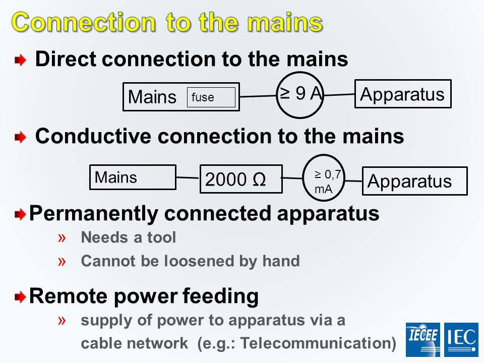 Connection to the mains