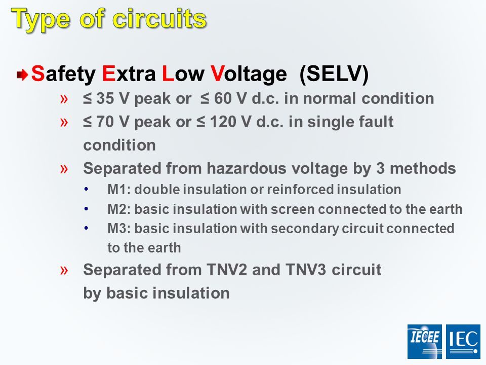 Type of circuits Safety Extra Low Voltage (SELV)
