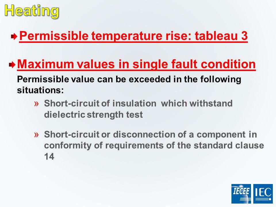 Heating Permissible temperature rise: tableau 3