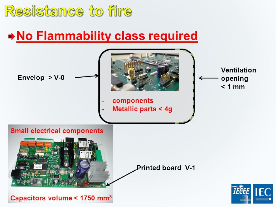Resistance to fire No Flammability class required