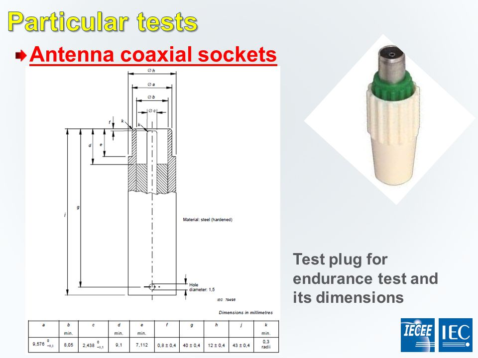 Particular tests Antenna coaxial sockets