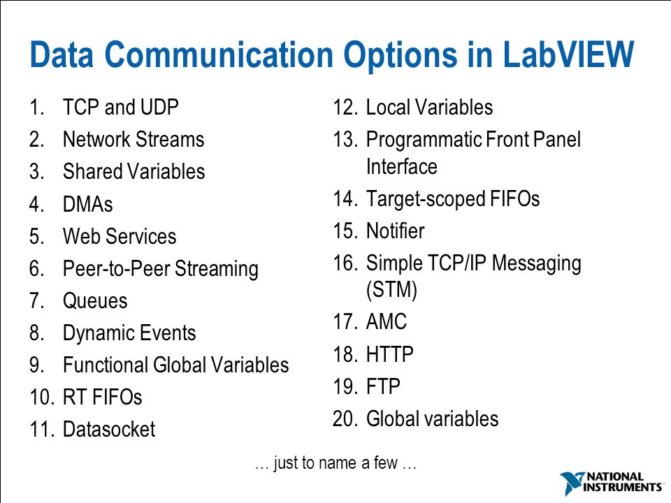 Data Communication Options in LabVIEW