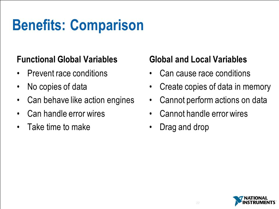 Benefits: Comparison Functional Global Variables