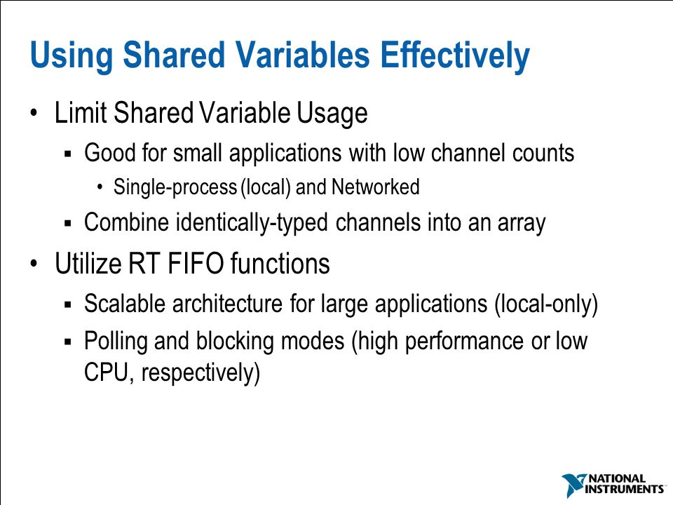 Using Shared Variables Effectively