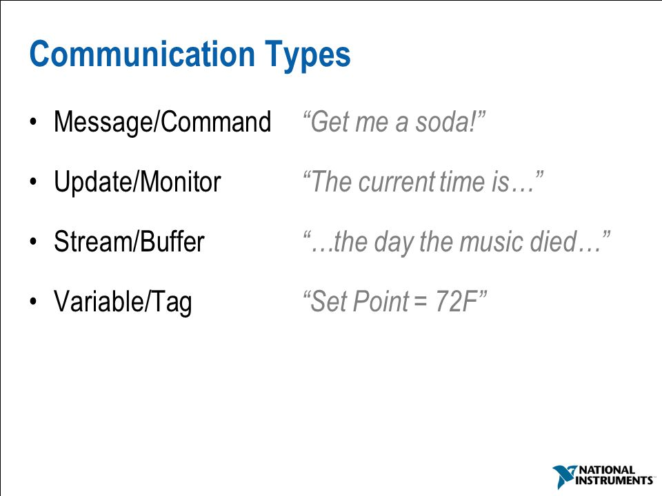 Communication Types Message/Command Get me a soda!