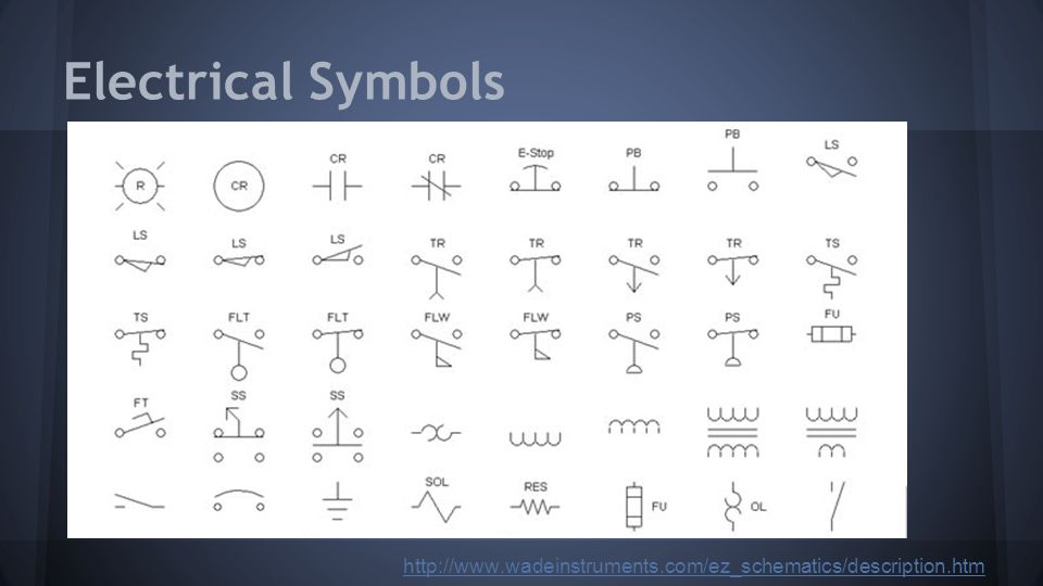 Electrical Symbols http://www.wadeinstruments.com/ez_schematics/description.htm