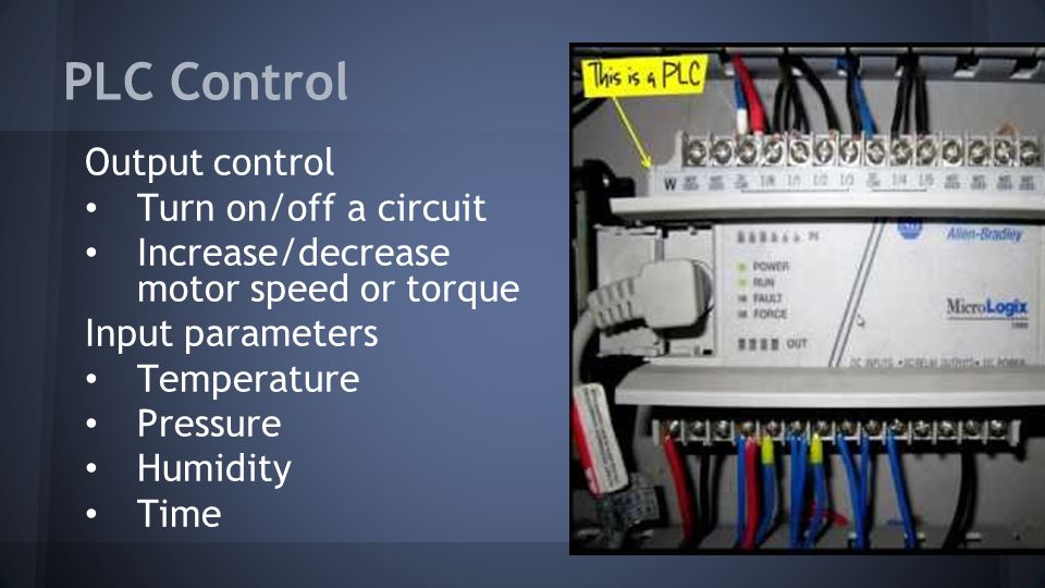PLC Control Output control Turn on/off a circuit