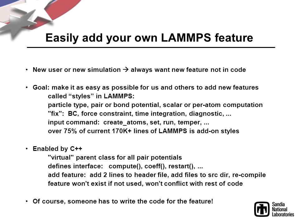 Easily add your own LAMMPS feature