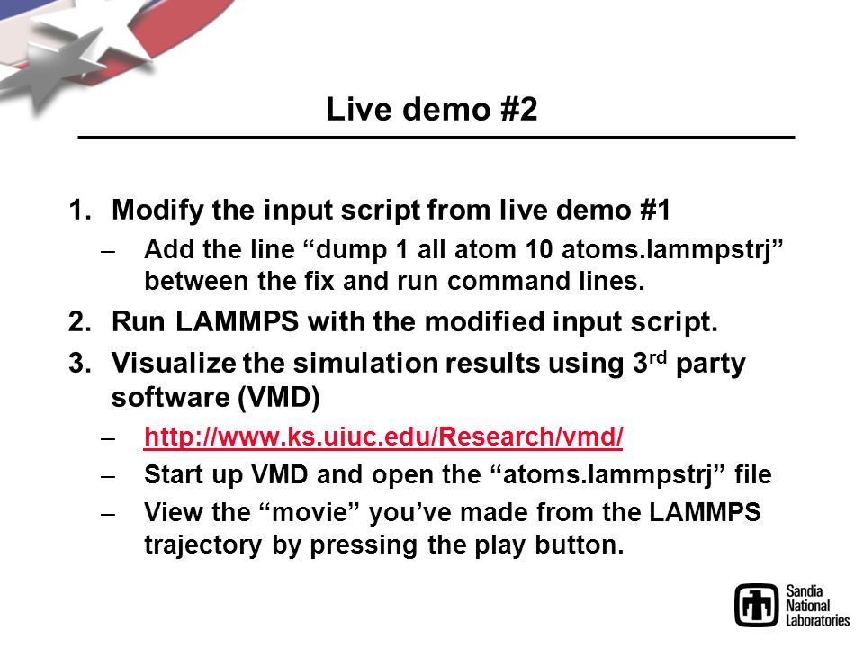Live demo #2 Modify the input script from live demo #1