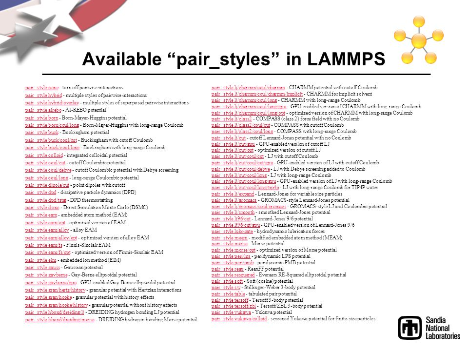 Available pair_styles in LAMMPS
