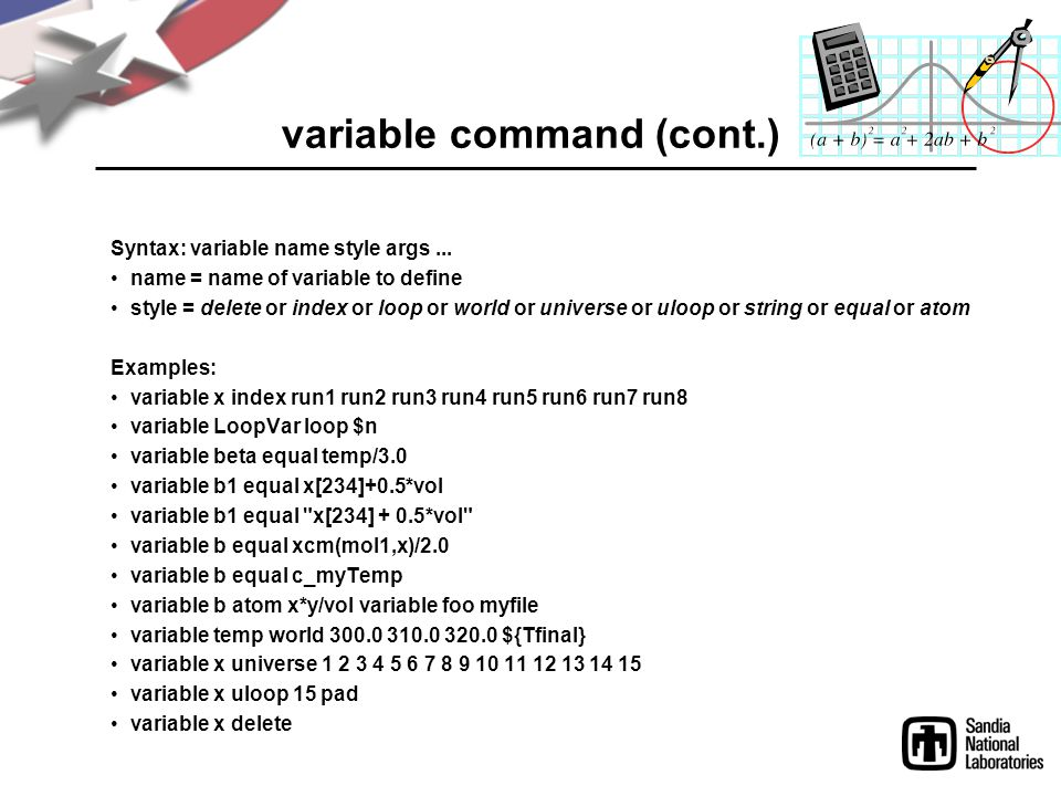 variable command (cont.)