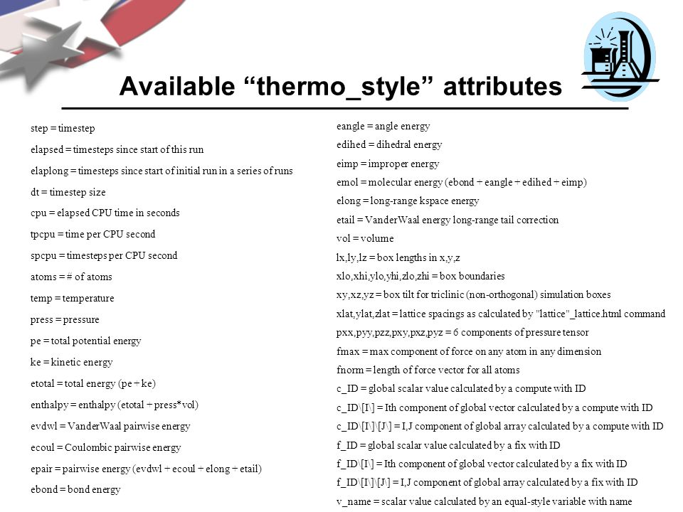 Available thermo_style attributes