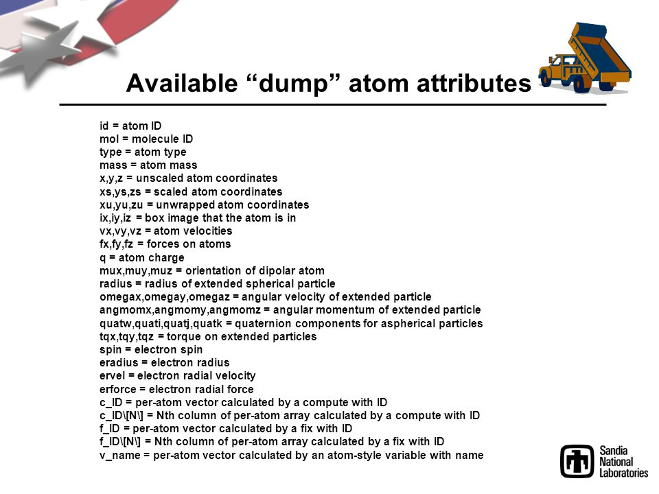 Available dump atom attributes