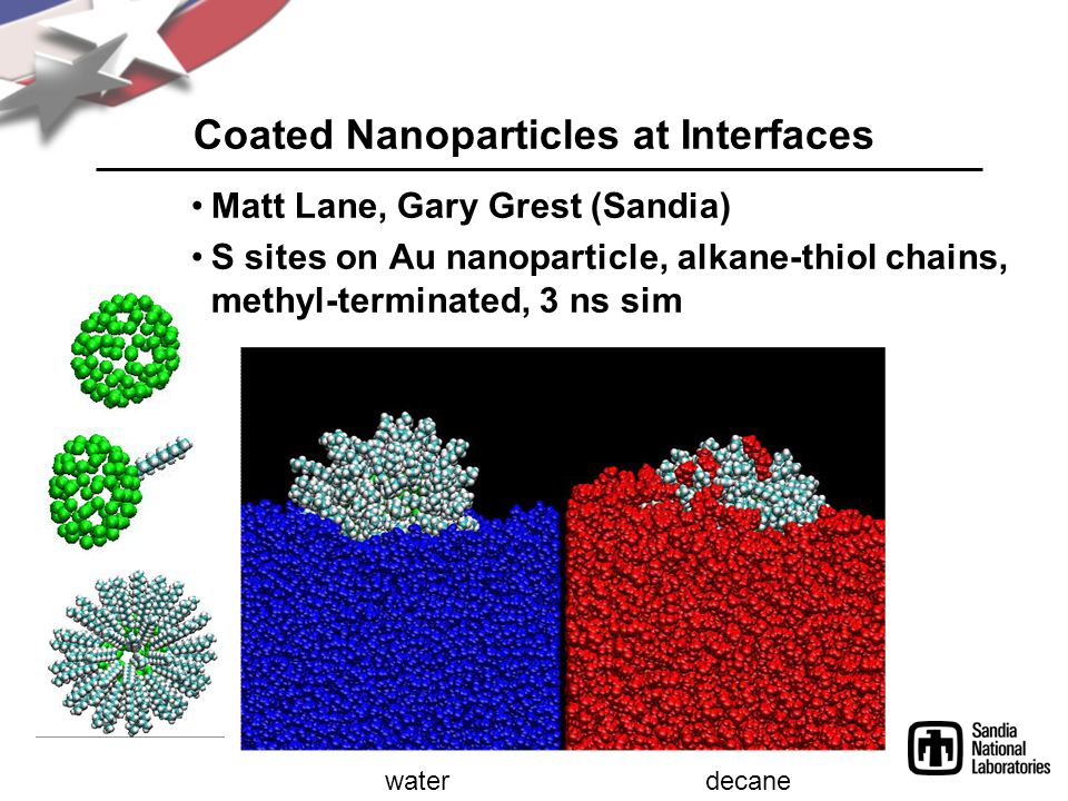 Coated Nanoparticles at Interfaces