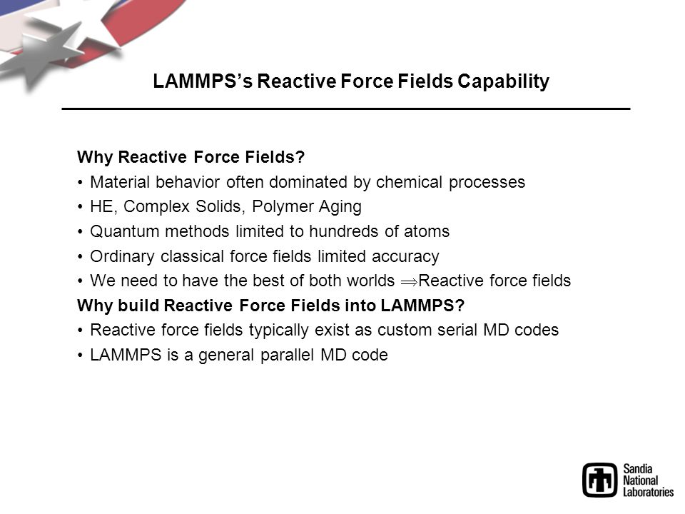 LAMMPS's Reactive Force Fields Capability