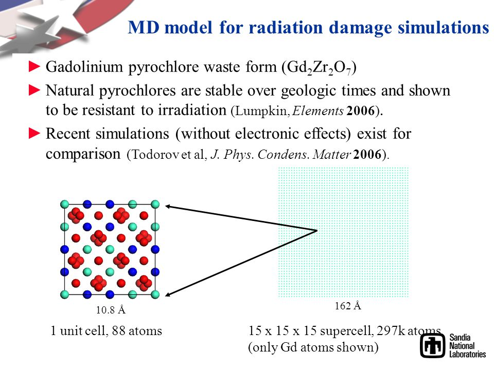 MD model for radiation damage simulations