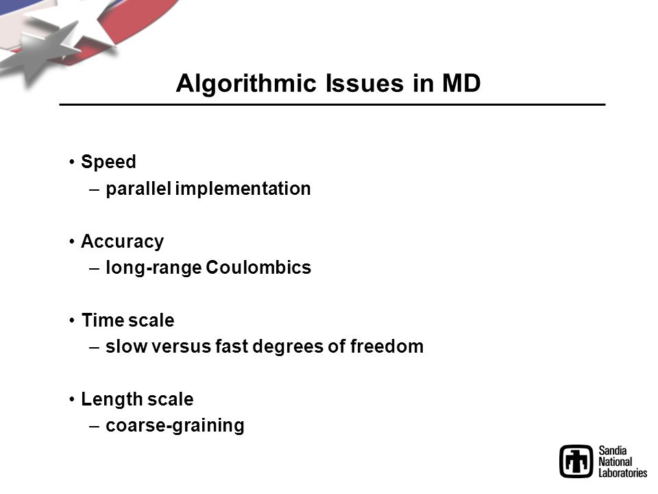 Algorithmic Issues in MD