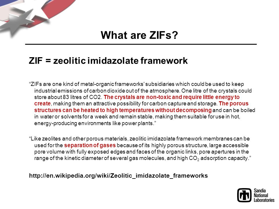 What are ZIFs ZIF = zeolitic imidazolate framework