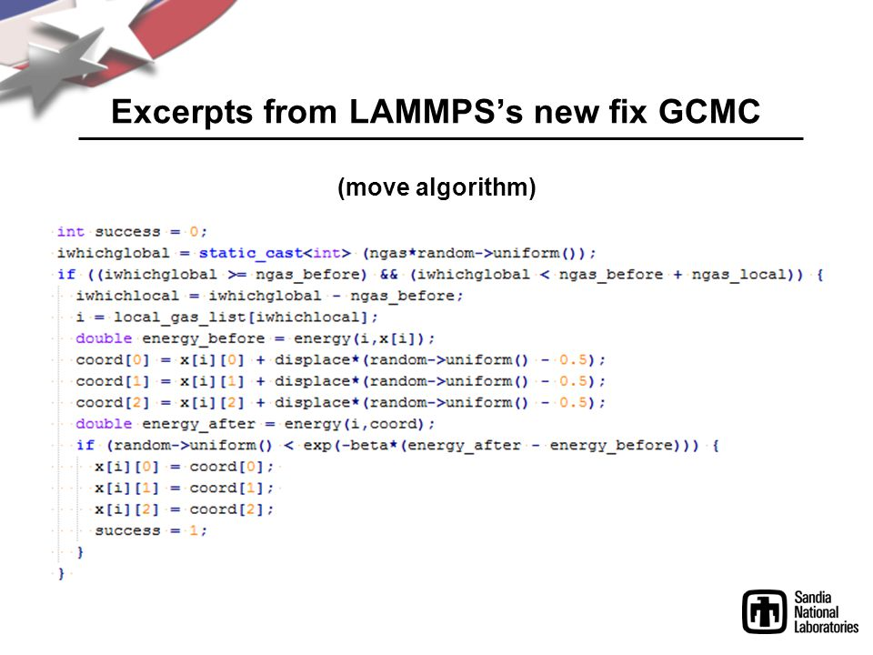 Excerpts from LAMMPS's new fix GCMC (move algorithm)