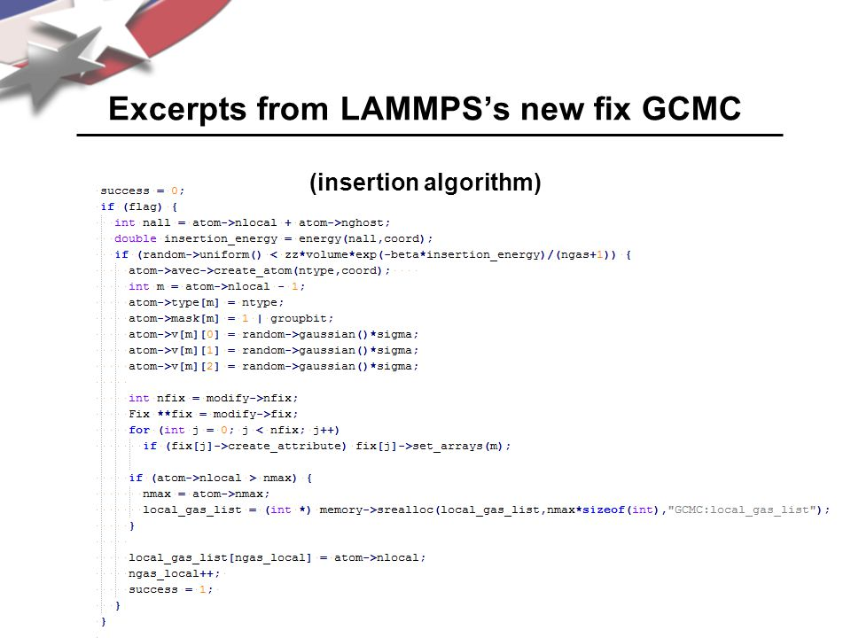 Excerpts from LAMMPS's new fix GCMC (insertion algorithm)