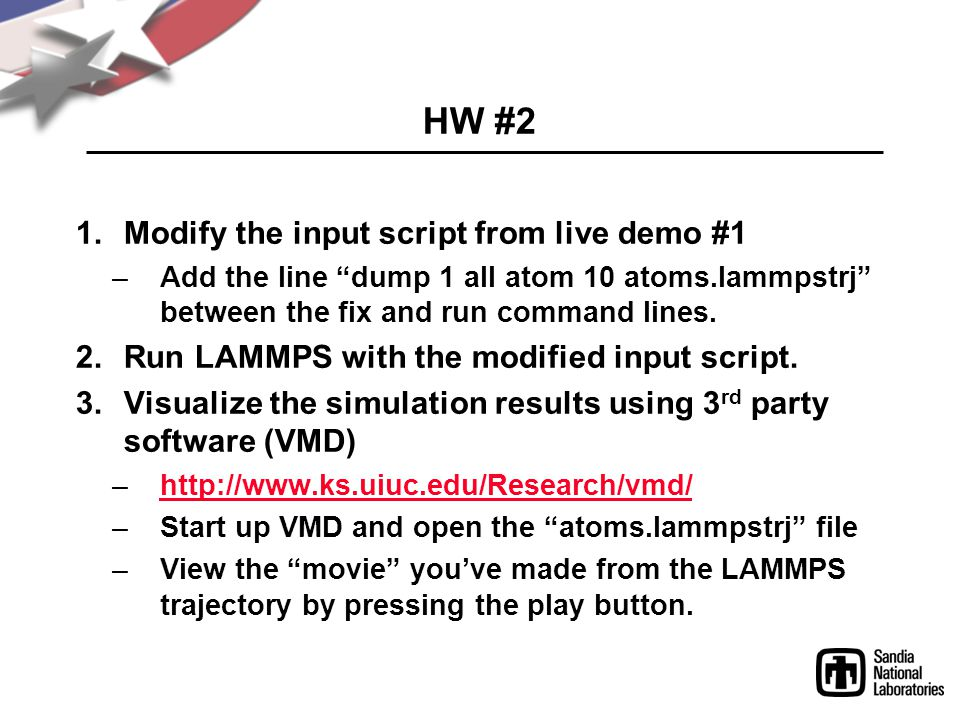HW #2 Modify the input script from live demo #1