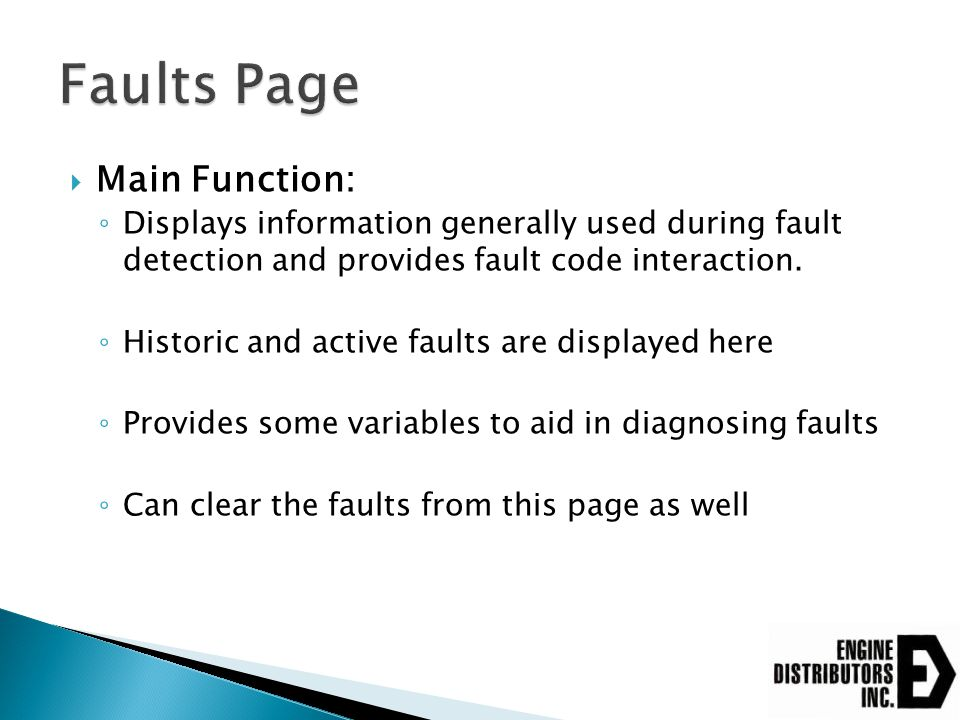 Faults Page Main Function: