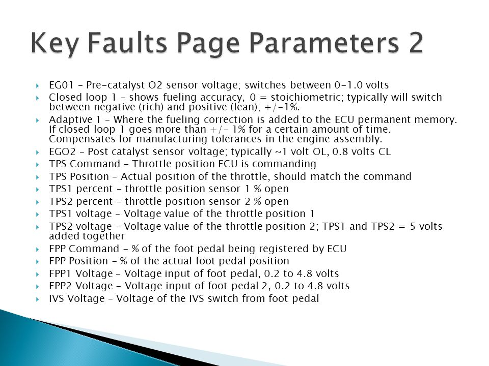 Key Faults Page Parameters 2