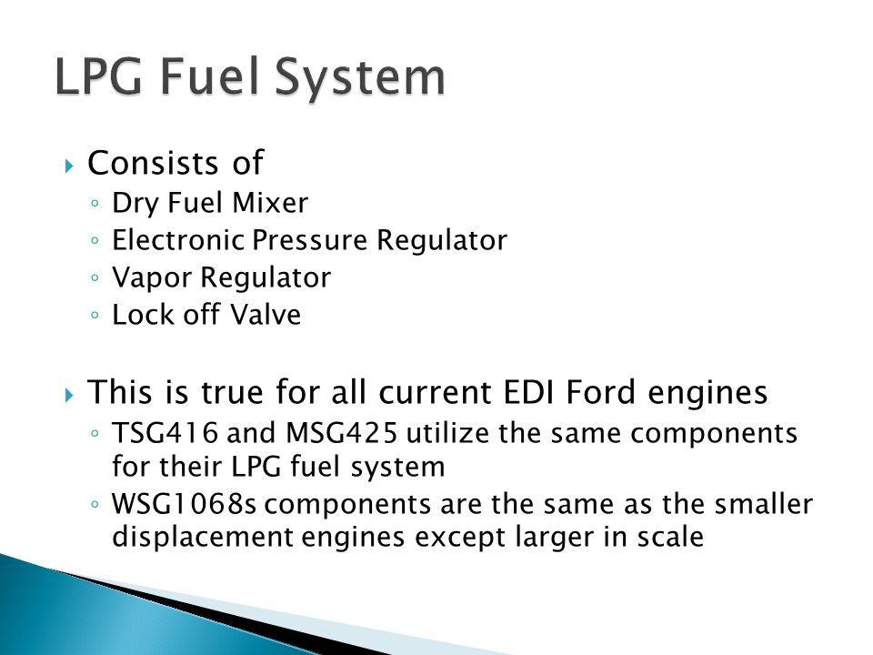 LPG Fuel System Consists of