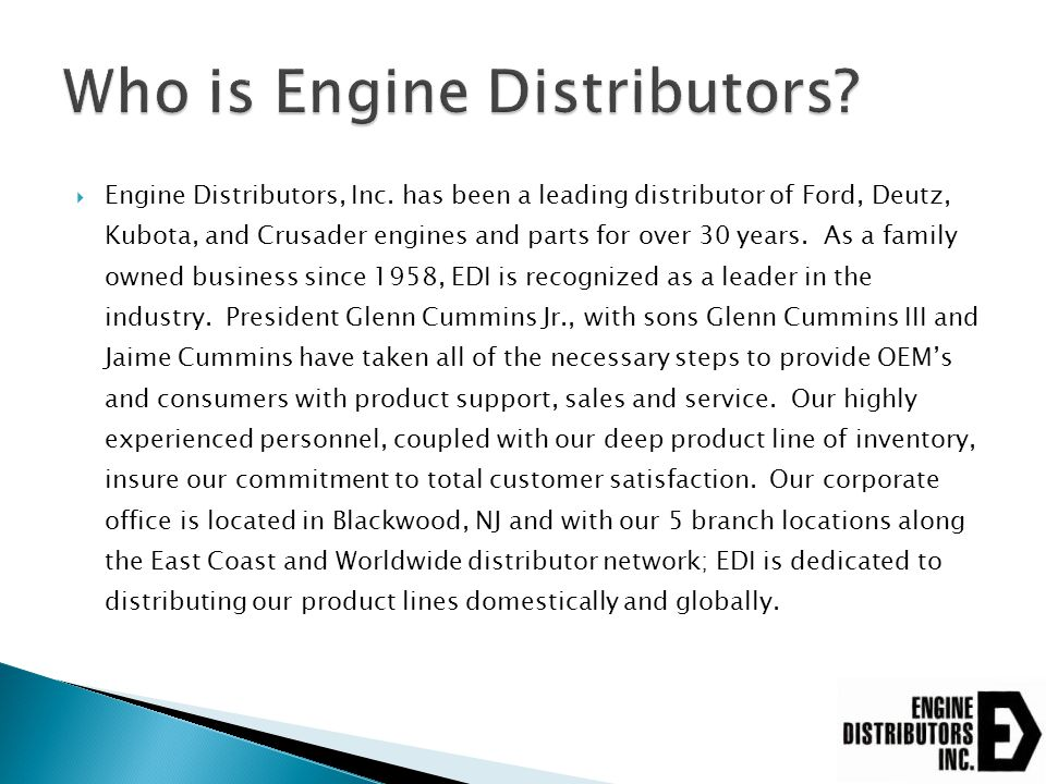 Who is Engine Distributors