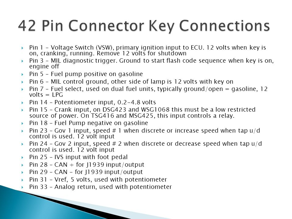 42 Pin Connector Key Connections
