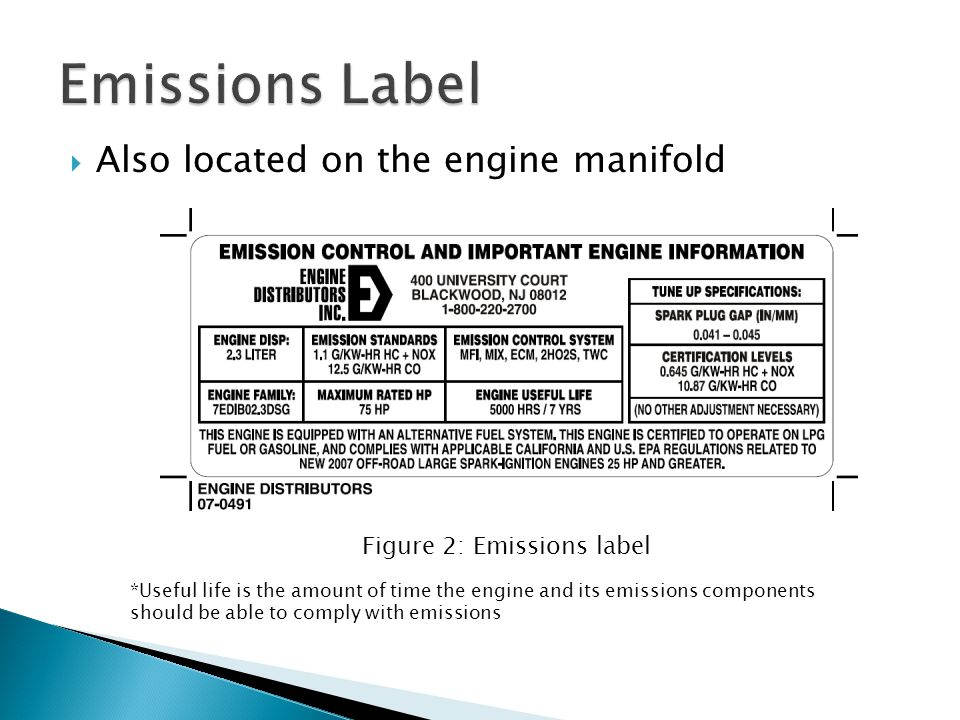 Emissions Label Also located on the engine manifold