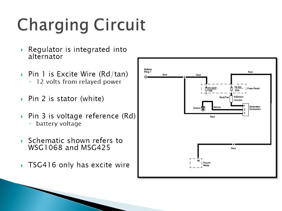 Charging Circuit Regulator is integrated into alternator