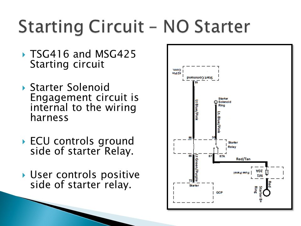 Starting Circuit – NO Starter