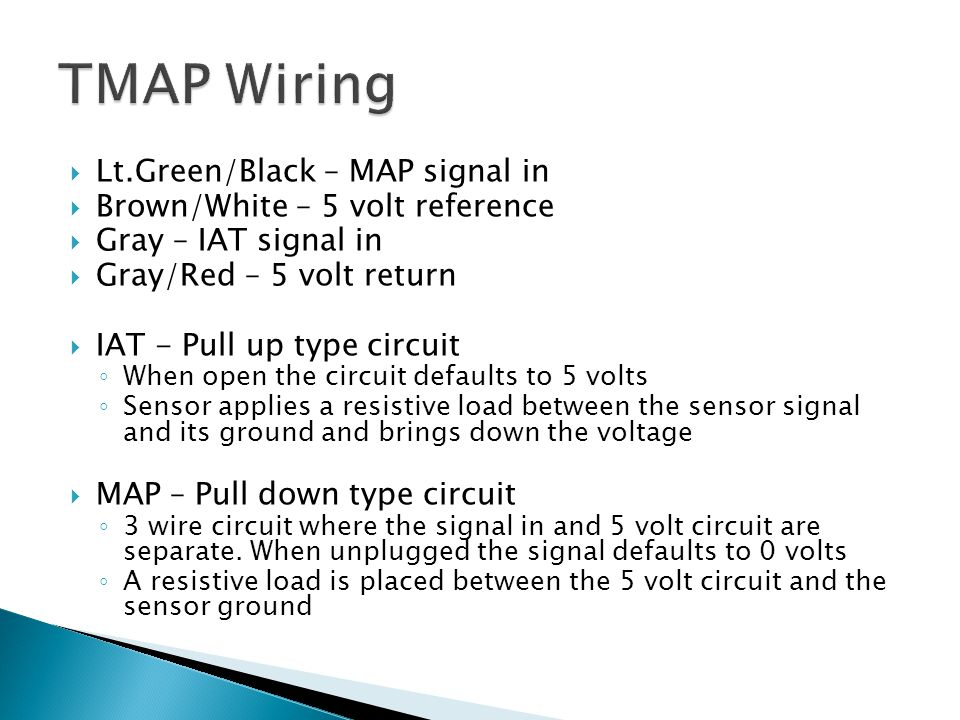 TMAP Wiring Lt.Green/Black – MAP signal in