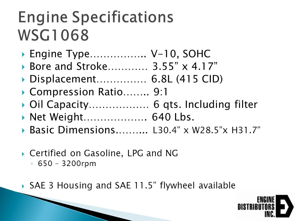 Engine Specifications WSG1068