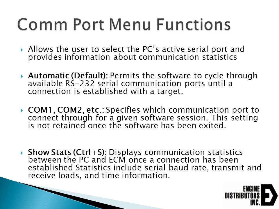 Comm Port Menu Functions
