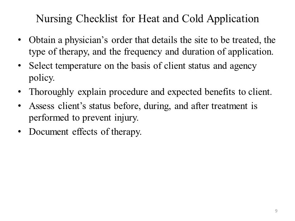 Nursing Checklist for Heat and Cold Application