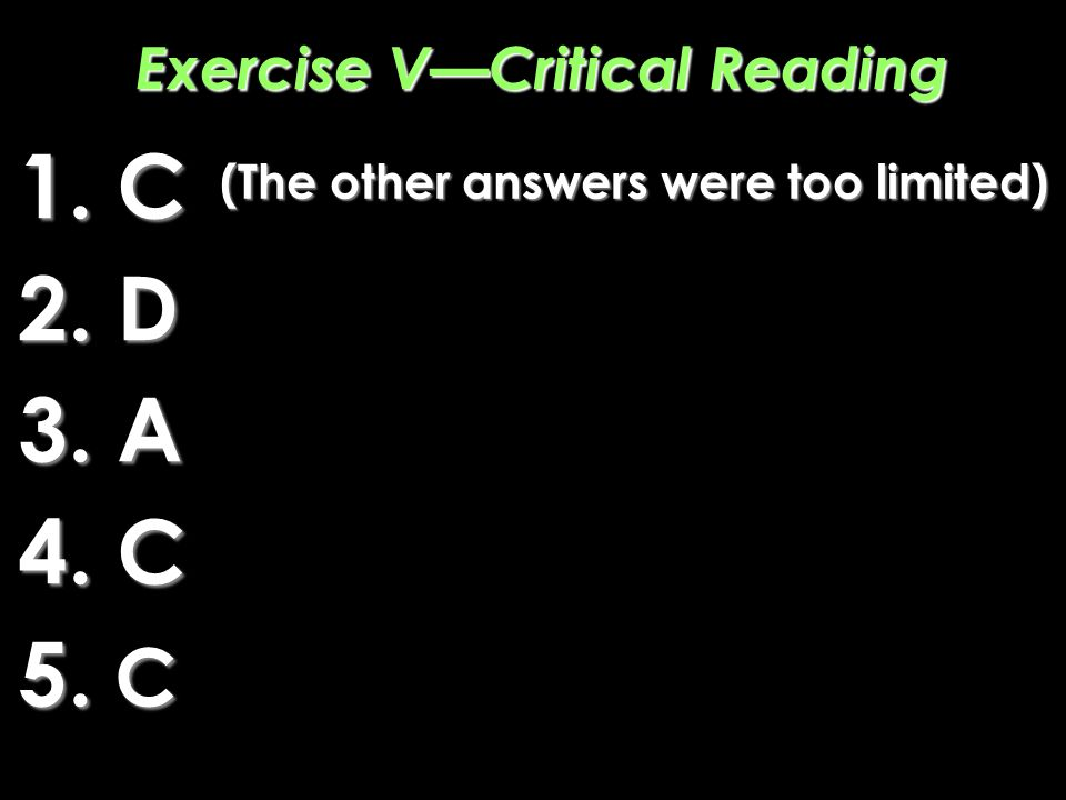 Exercise V—Critical Reading