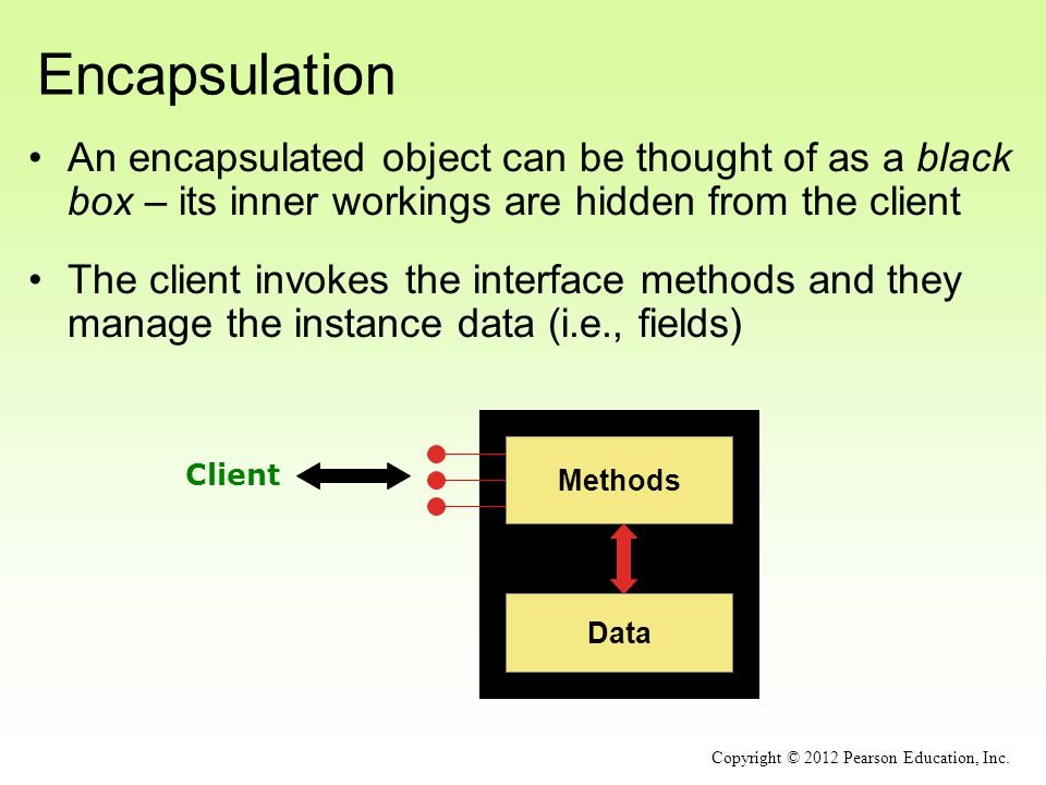 Encapsulation An encapsulated object can be thought of as a black box – its inner workings are hidden from the client.
