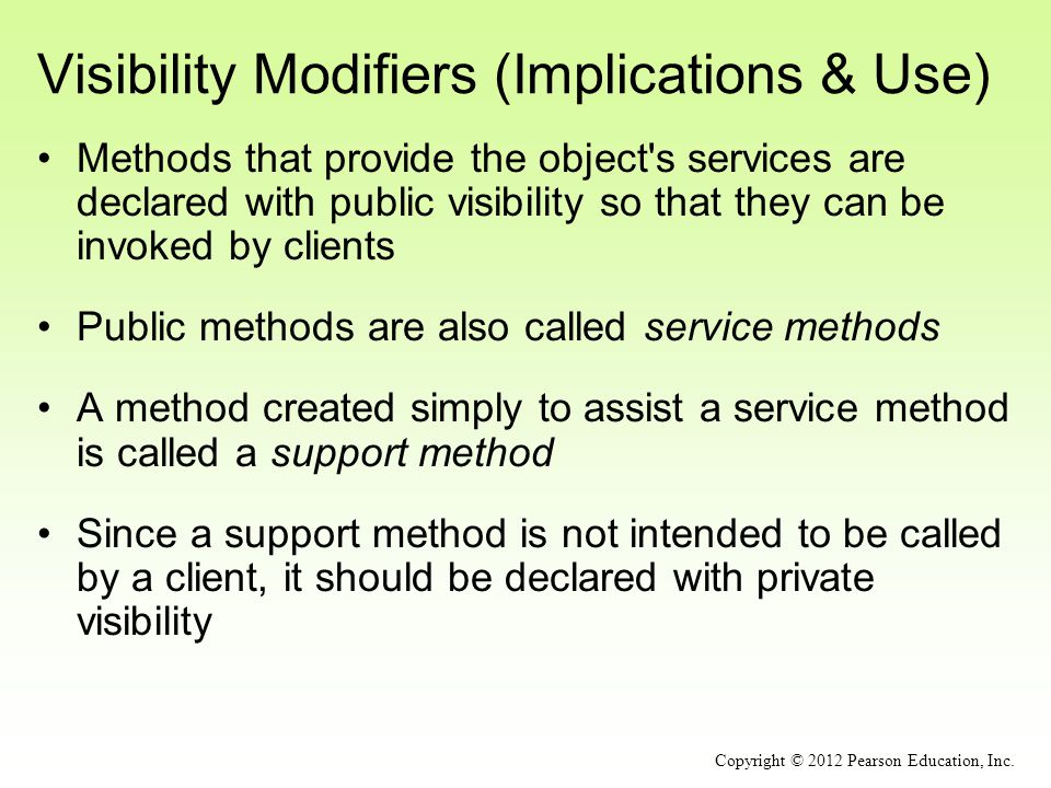 Visibility Modifiers (Implications & Use)