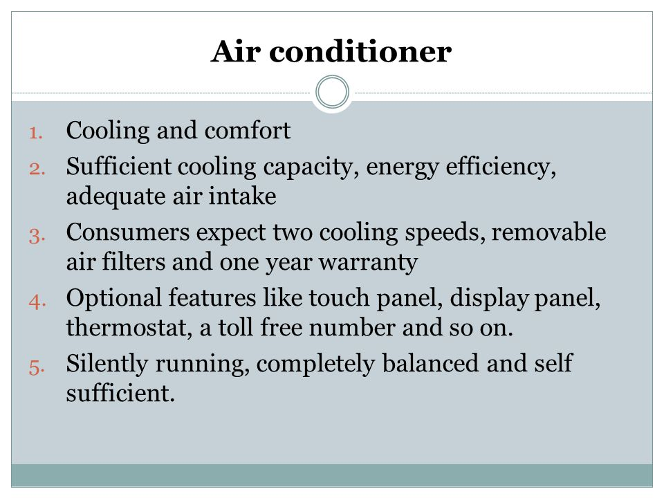 Air conditioner Cooling and comfort