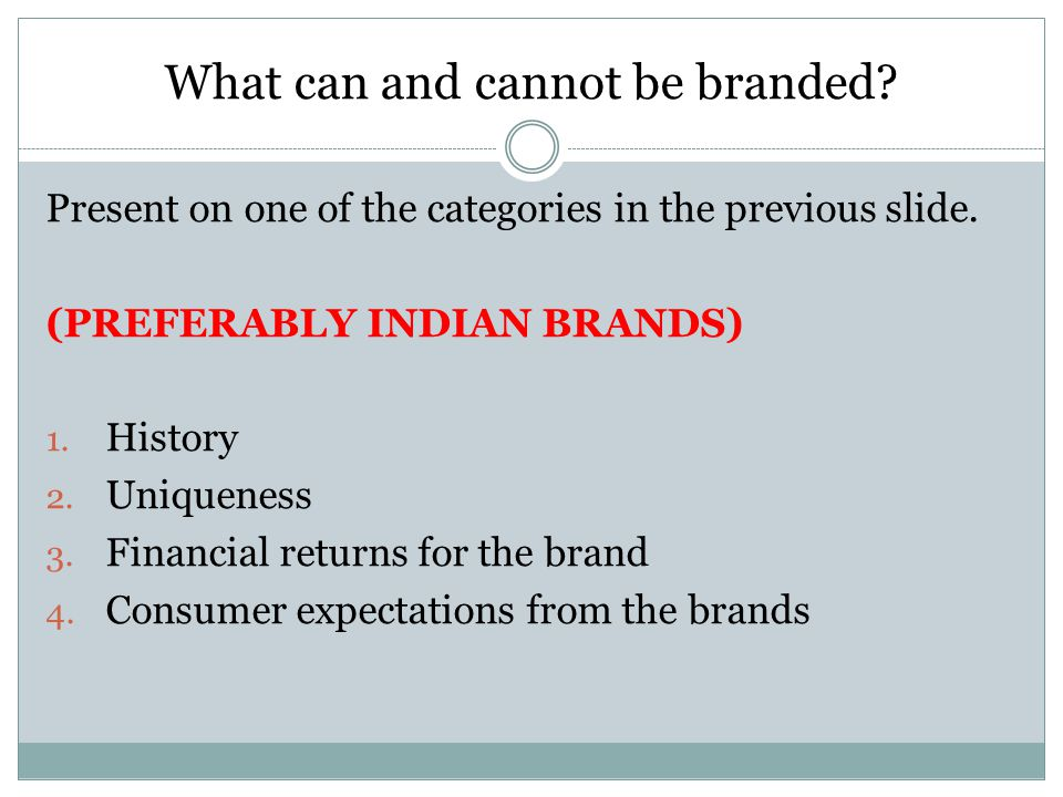 What can and cannot be branded