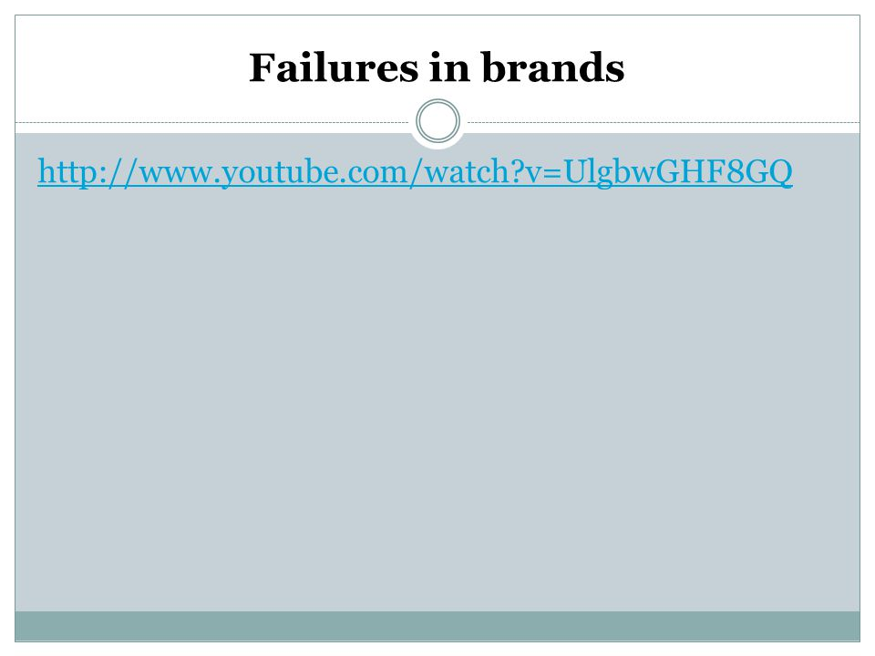 Failures in brands http://www.youtube.com/watch v=UlgbwGHF8GQ
