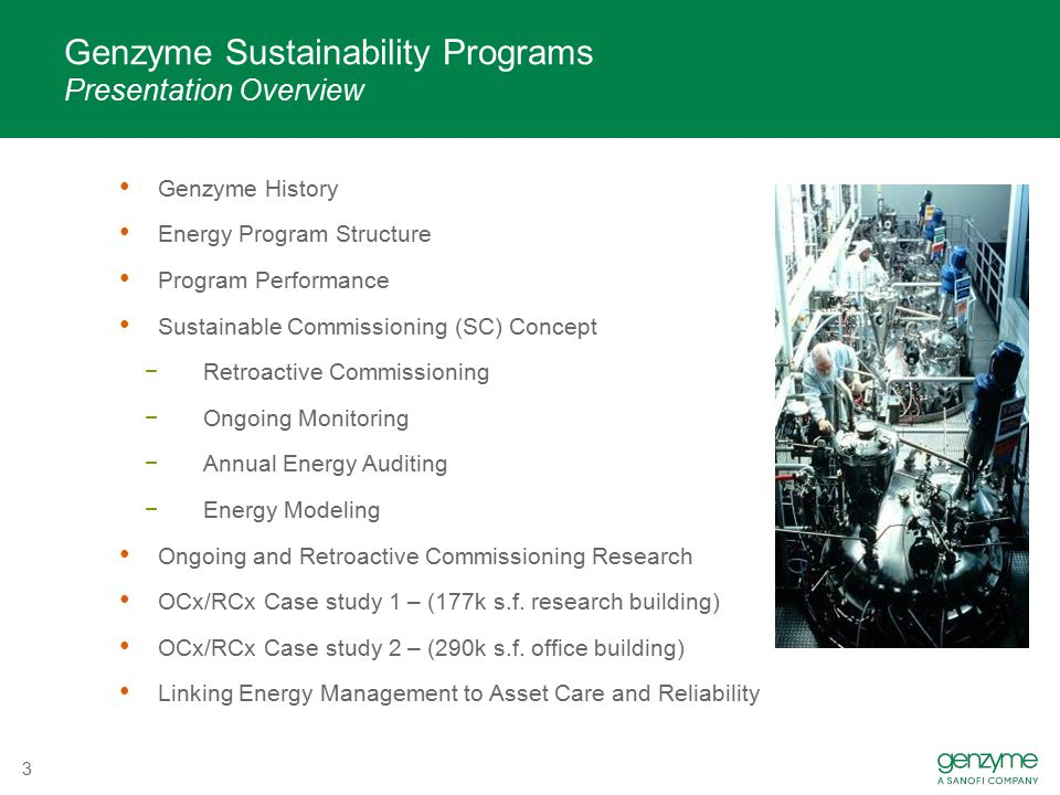 Genzyme Sustainability Programs Presentation Overview