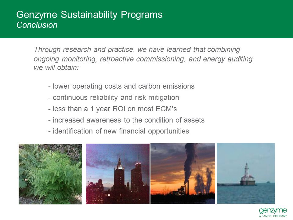 Genzyme Sustainability Programs Conclusion