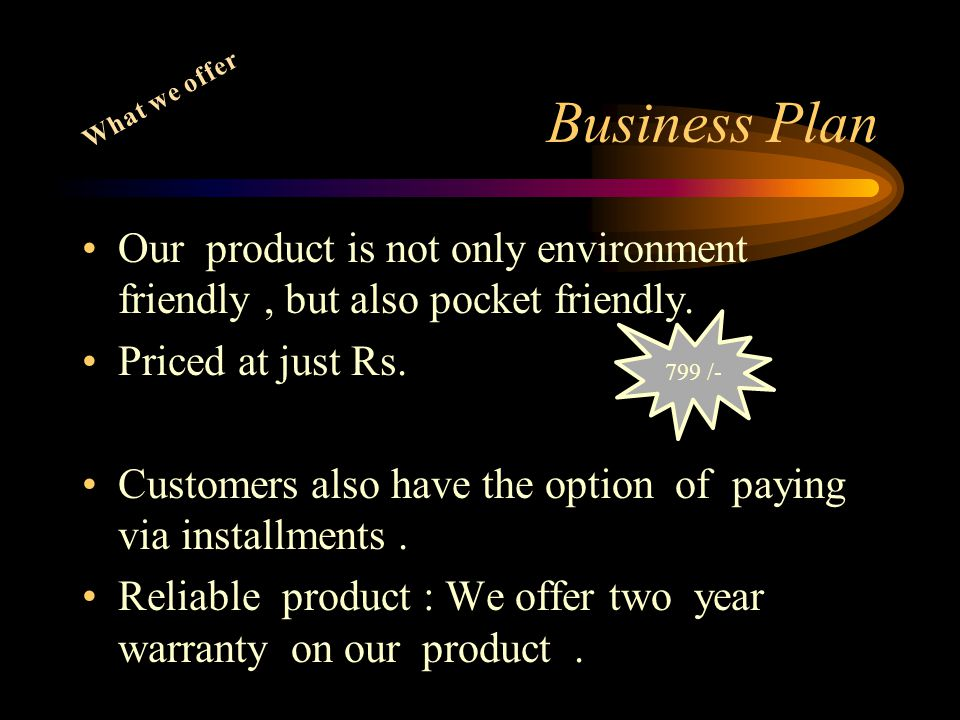 Business Plan What we offer. Our product is not only environment friendly , but also pocket friendly.