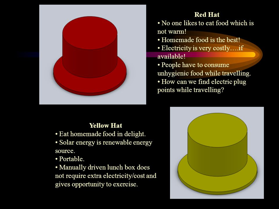 Red Hat No one likes to eat food which is not warm! Homemade food is the best! Electricity is very costly….if available!