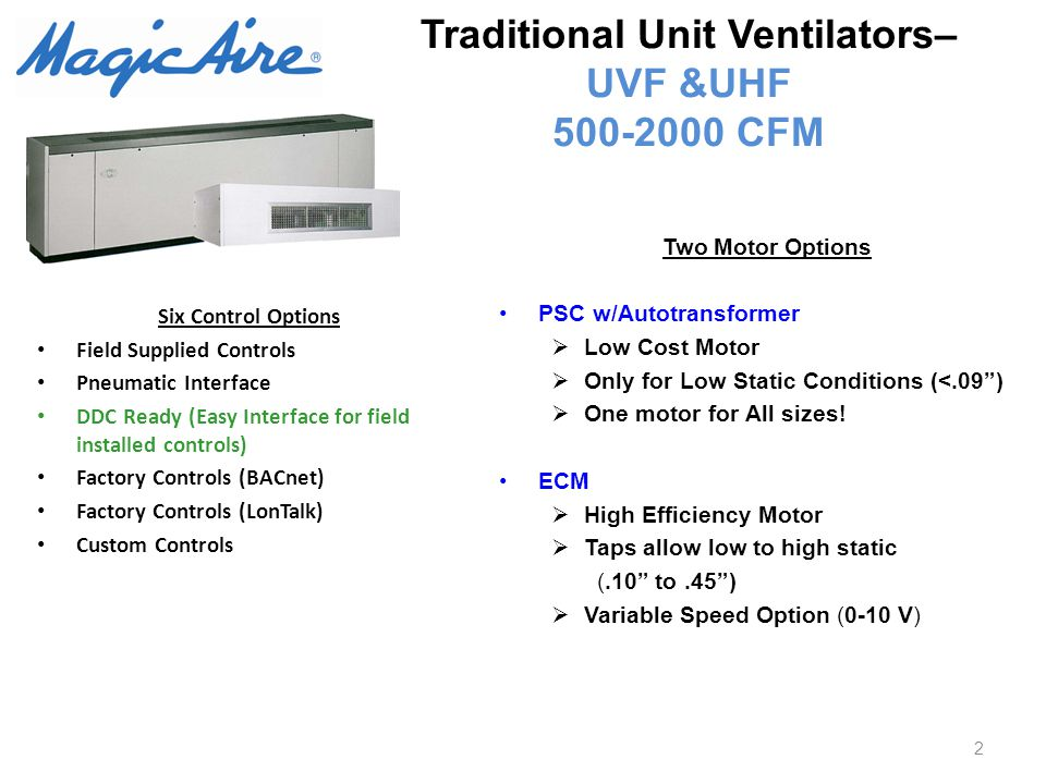 Traditional Unit Ventilators– UVF &UHF