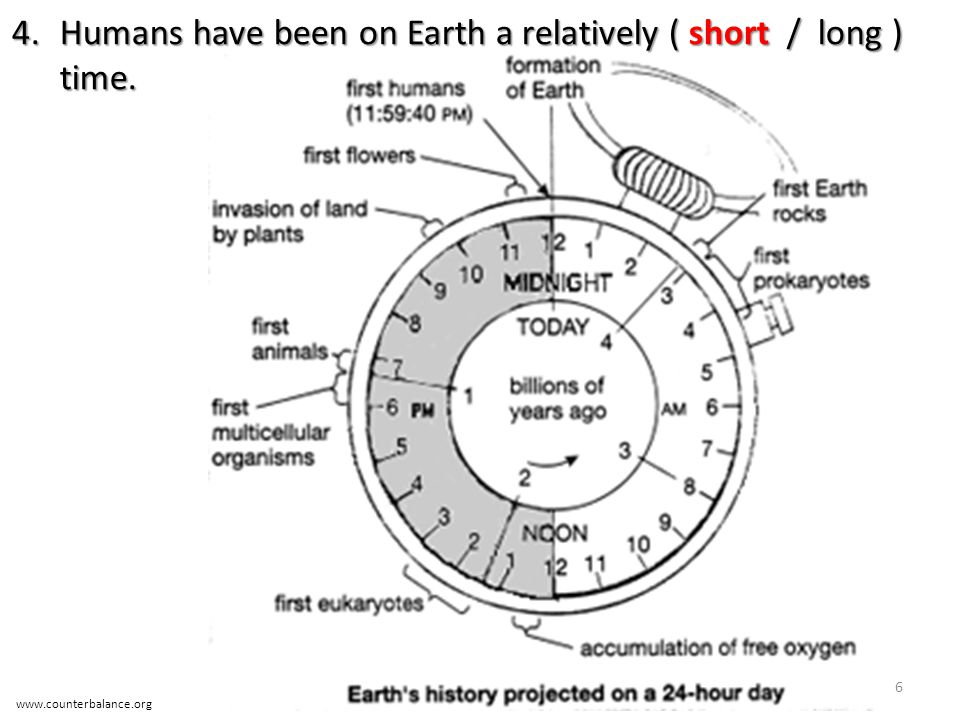 Humans have been on Earth a relatively ( short / long ) time.